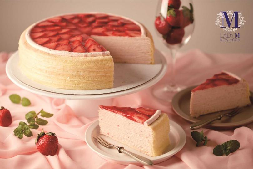 草莓香緹千層蛋糕。(圖/Lady M提供)