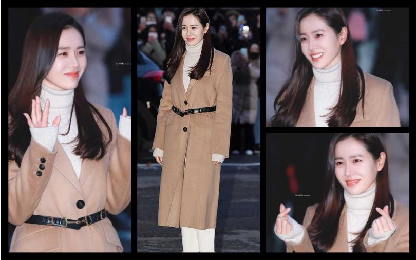孫藝珍同樣選擇駝色款大衣,來自Maje駝色外套內搭白色毛衣,讓這對『國民CP』再埋談戀愛伏筆!(圖/微博提供)
