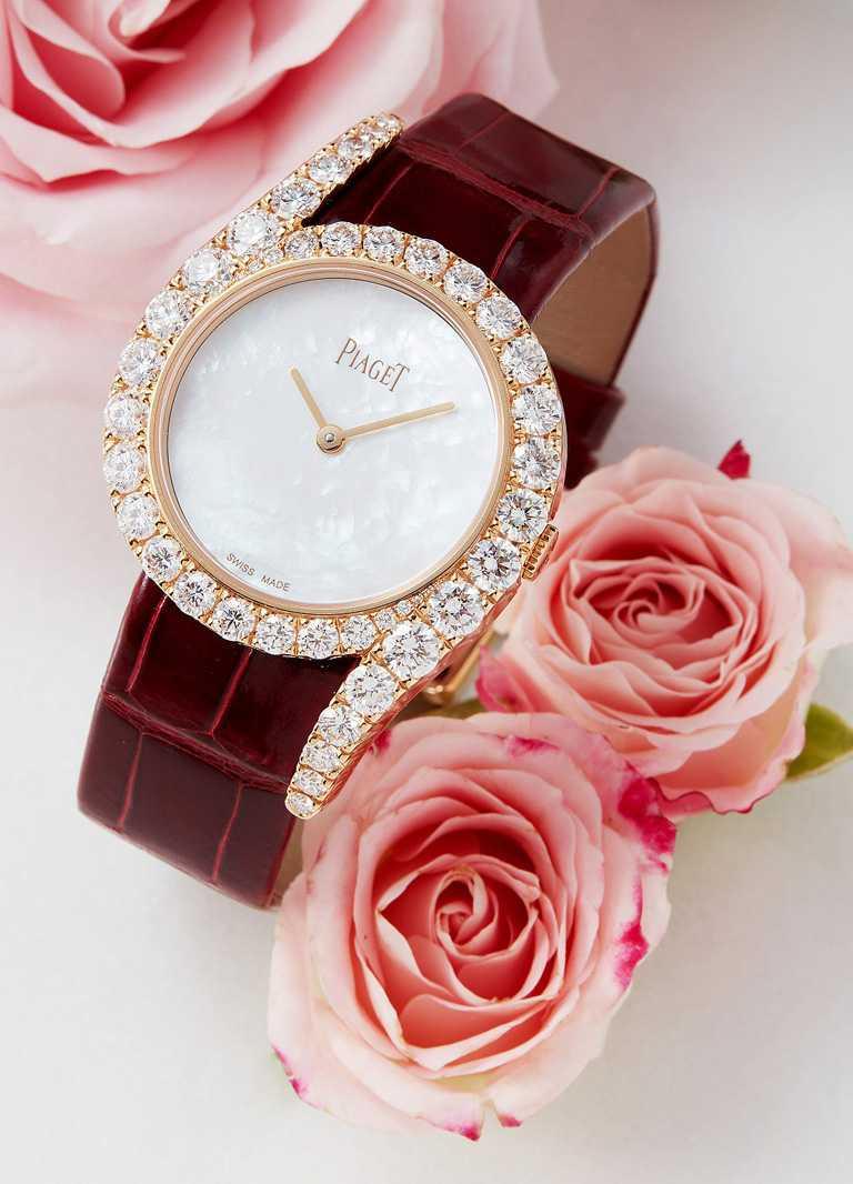 PIAGET「Limelight Gala系列」頂級珠寶,18K玫瑰金鑲鑽高級珠寶腕錶╱32mm,錶圈鑽石42顆╱1,720,000元。(圖╱PIAGET提供)