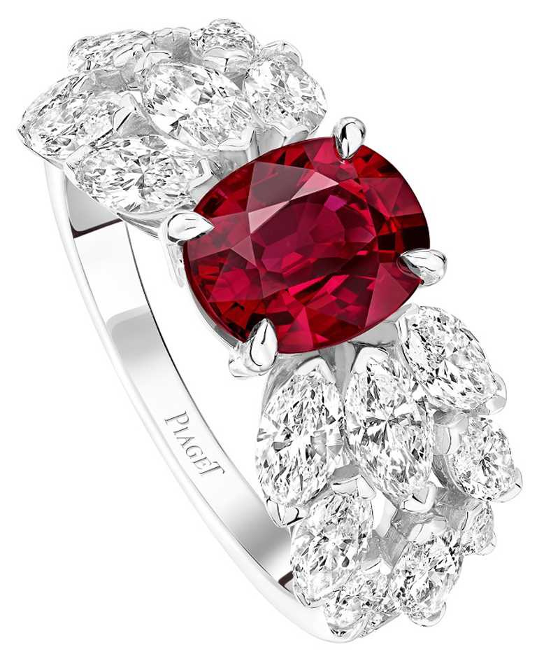 PIAGET「Treasures系列」18K白金紅寶石高級珠寶鑽石戒指╱價格店洽。(圖╱PIAGET提供)