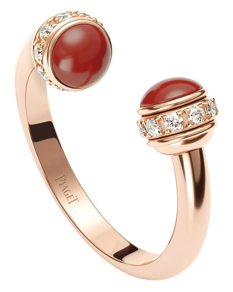PIAGET「Possession系列」18K玫瑰金紅玉髓鑽石戒指╱93,000元。(圖╱PIAGET提供)