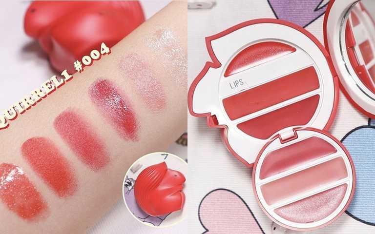 PUPA蘋果迷你松鼠唇彩盒5.5g/750元以深淺紅色系為主,共有霧面、光澤、唇蜜的三種質地。(圖/IG@pupamilanokorea)