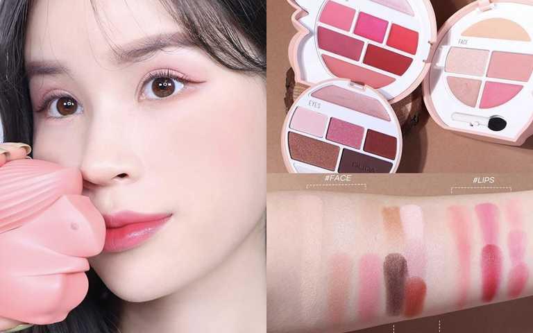 PUPA榛果幸福松鼠彩妝盒20.8g/1,150元內含7色眼彩、5色臉彩、7色唇彩,外加一隻眼影棒,名副其實CP值爆表。(圖/IG@ara_spring)