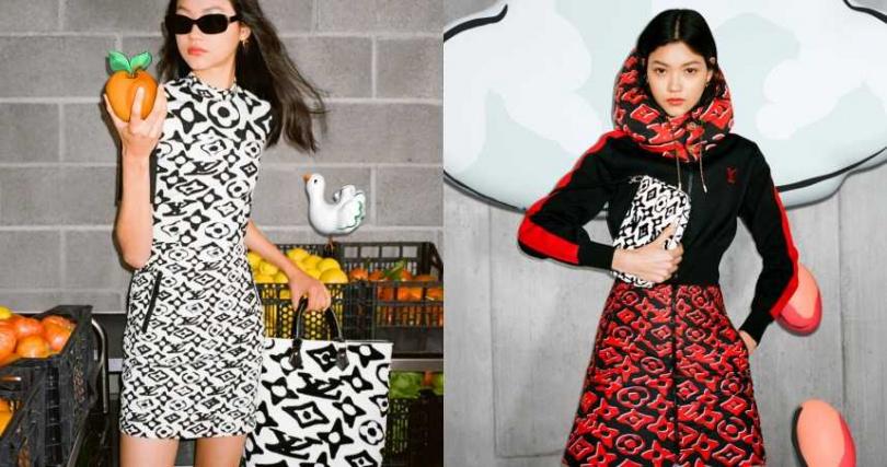 以紅黑、黑白兩種配色搭配全新經典花紋,讓整體重點回歸到印花的變形設計上。膠囊系列涵蓋服裝、配件與7款特別版包款,甚至是裝置藝術到櫥窗設計都可以見到Ursh Fischer的藝術創作。(圖/品牌提供)
