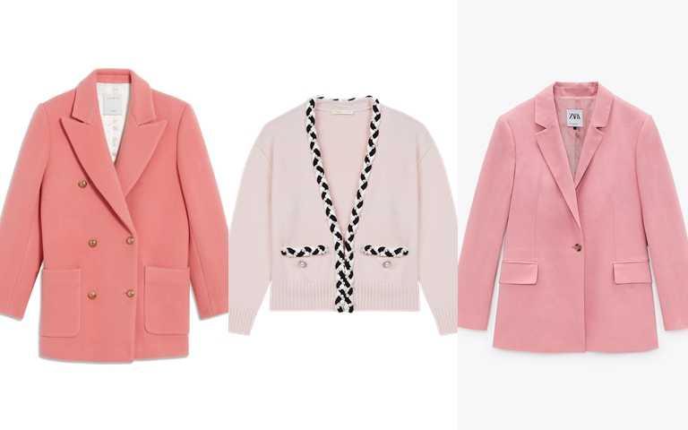 還有這些粉色外套也很推薦>>Sandro粉色外套/19,710元、Maje緄邊針織開襟外套/11,590元、ZARA亞麻西裝外套/1,990元(圖/品牌提供)