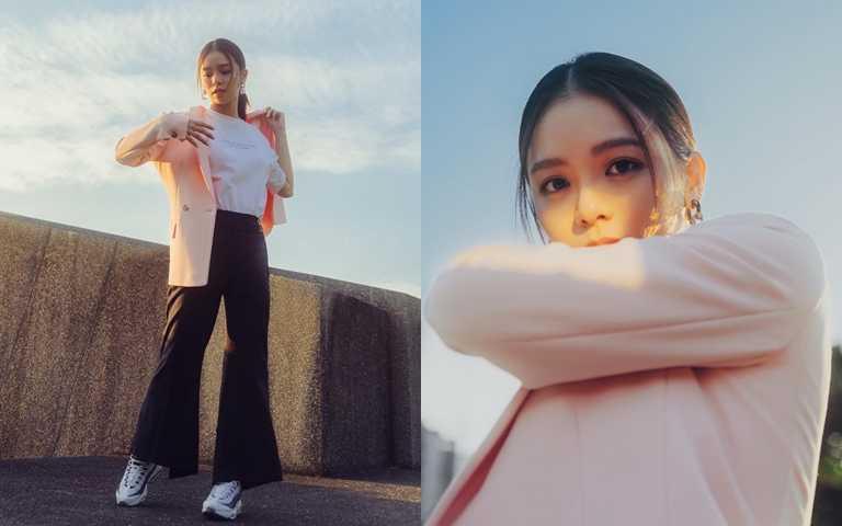 粉紅色西裝外套可甜可鹹,運用範圍無限大。(圖/翻攝宋芸樺粉絲團)