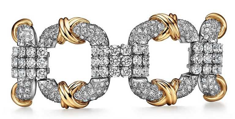 TIFFANY & CO.「Tiffany Schlumberger Cooper」系列,鉑金與18K金鑲鑽手環╱價格店洽。(圖╱TIFFANY & CO.提供)