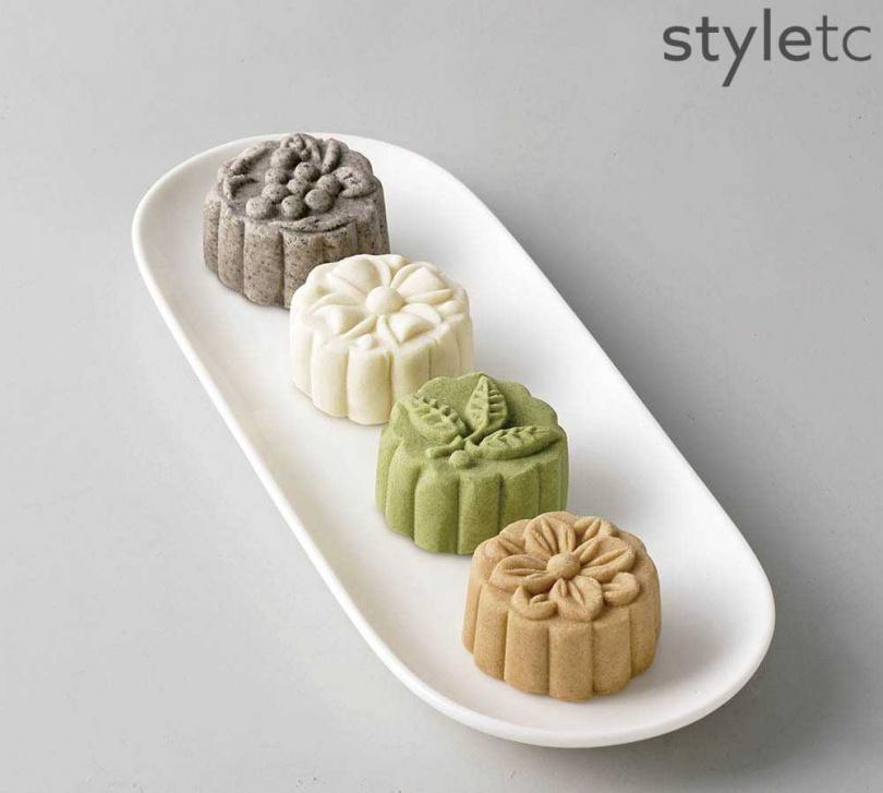 「狀元糕」純靠油脂潤滑,除了杏仁、芝麻等口味,還有風味像蔬菜加抹茶的「麻芛」(前二)口味。(中狀元糕4入/580元)(圖/店家提供)