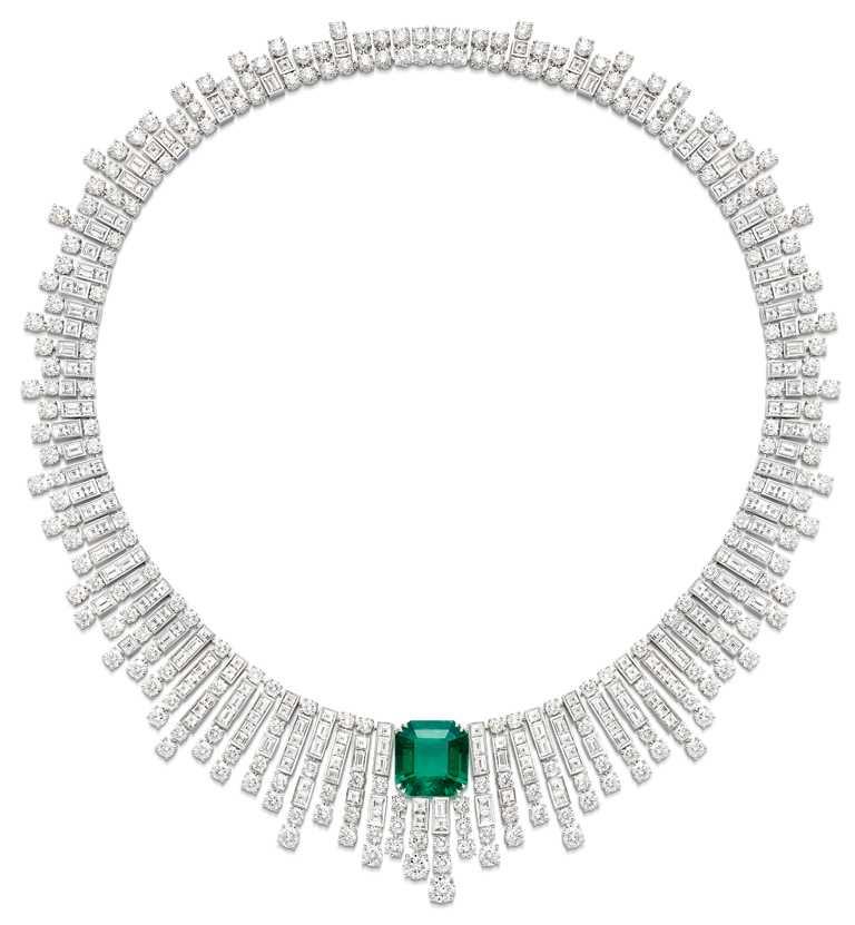 PIAGET「Sunlight Escape」系列,祖母綠頂級珠寶鑽石項鍊╱47,100,000元。(圖╱PIAGET提供)