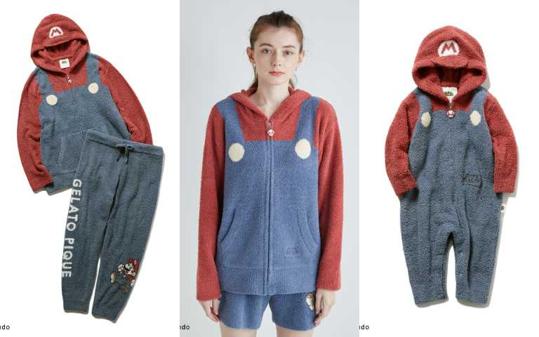 居家服飾上衣+短褲售價12,320日元、上衣+長褲15,620日元、小孩款9,900日元、嬰兒包屁衣6,930日元。