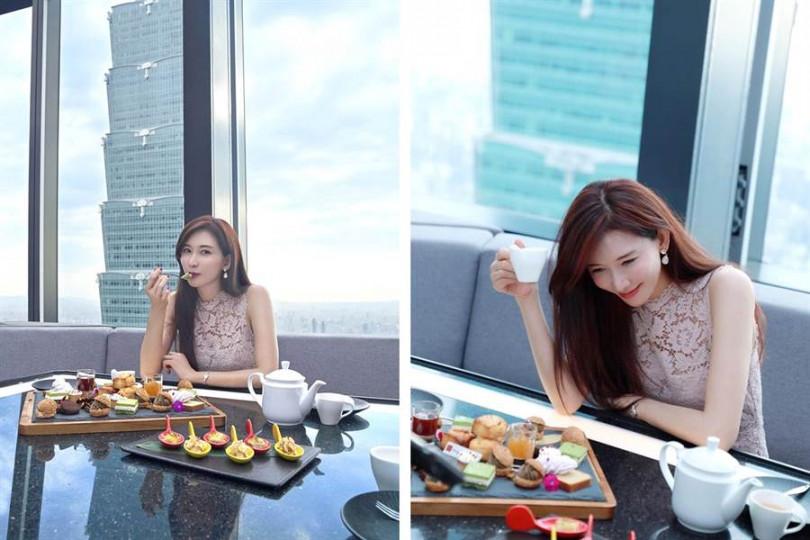 照片取自林志玲Chiling Lin臉書,於CÉ LA VI Taipei 48樓高空餐廳享用下午茶,窗外近距離是台北101。