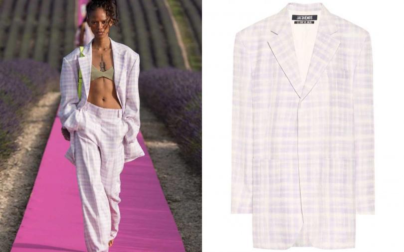 即便內搭比基尼上衣,也絲毫不突兀。JACQUEMUS La Veste d'Homme jacket 外套/約27,820元(圖/品牌提供)