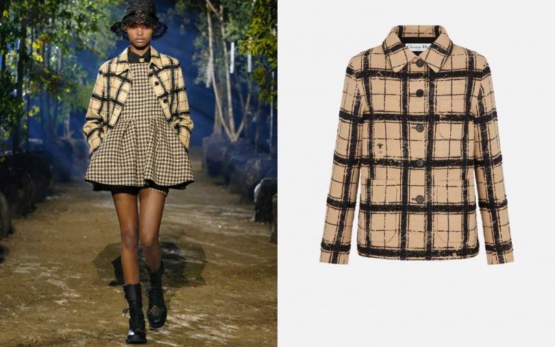 以同色系統一不同格紋,才不會顯得凌亂。DIOR  Checkered Tussah Silk Utility Jacket 外套/約177,560元(圖/品牌提供)
