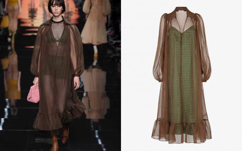 用透膚材質與兩種不同顏色、格紋混搭,創造出新鮮感。FENDI Check organza dress/約84,000元(圖/品牌提供)