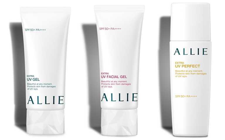 ALLIE EX UV高效防曬水凝乳N/850元、ALLIE EX UV高效防曬亮顏飾底乳N/850元、ALLIE EX UV完美高效防曬乳/850元(圖/品牌提供)