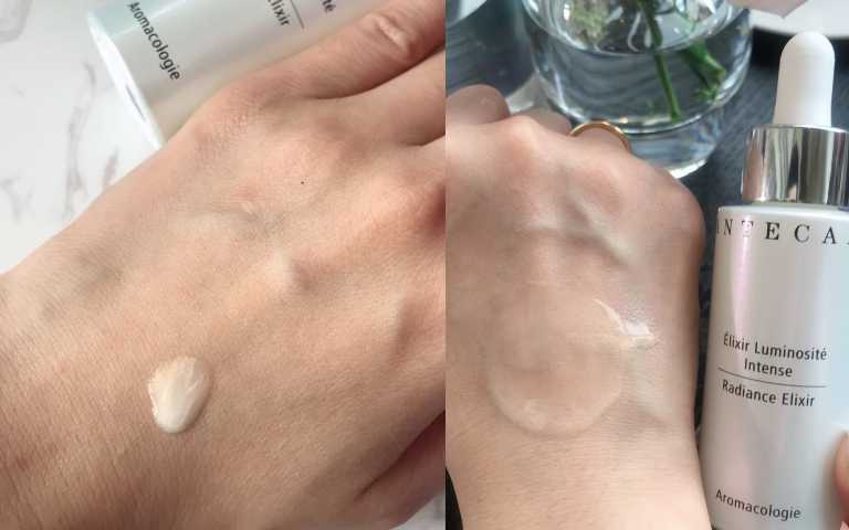 香緹卡喚顏粉晶萃擦上後肌膚有粉嫩透亮的質感。(圖/黃筱婷攝影)