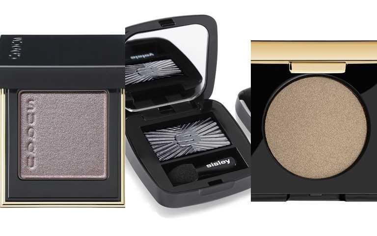 灰色眼影妳可以選這些。SUQQU晶采立體眼影 #102/1,400元、sisley植物光感保養眼影 #24 1.5g/1,500元、YSL訂製誘光眼影盒 #6/1,100元(圖/品牌提供)