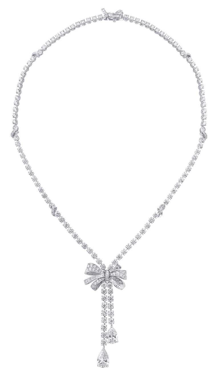 GRAFF「Tilda's Bow」系列,雙行圓形鑽石項鍊╱2,800,000元。(圖╱GRAFF提供)