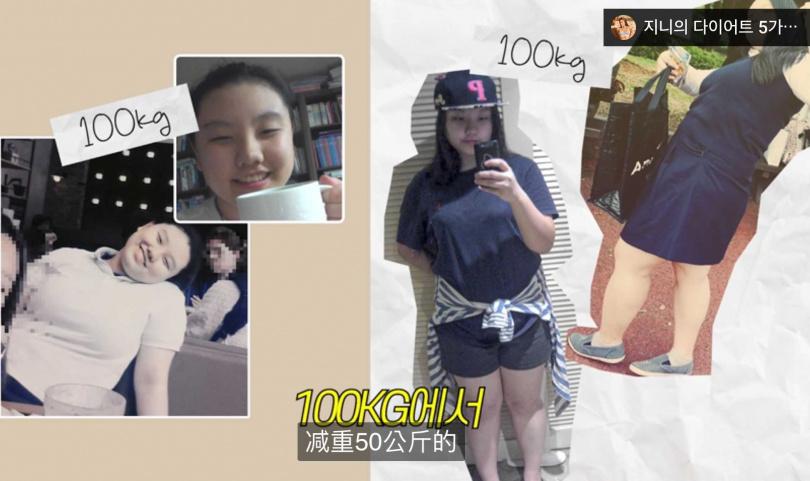 原本體重100公斤的Jini,曾瘦到只剩58KG,再慢慢減至50KG還練出腹肌。(圖/IG)