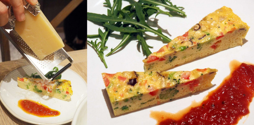 「義式蔬菜烘蛋」以土雞蛋搭配蔬果邊角料烘烤完成,上桌時還會現刨起司,170元。(圖/魏妤靜攝)