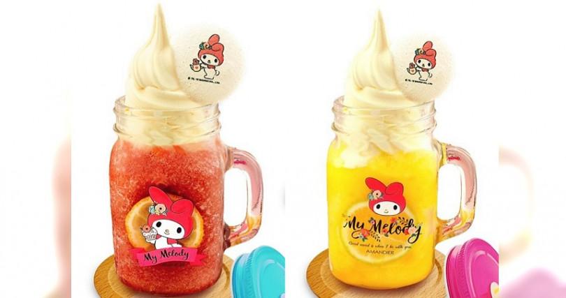 配上霜淇淋的水果冰沙,上頭還有印上美樂蒂圖樣的馬卡龍。(圖/雅蒙蒂文創烘焙禮品提供)