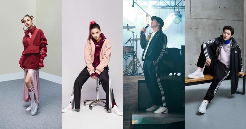 水原希子、Angelababy、陳奕迅及鹿晗也為白色球鞋搭出獨特時尚。(圖/adidas Originals提供)