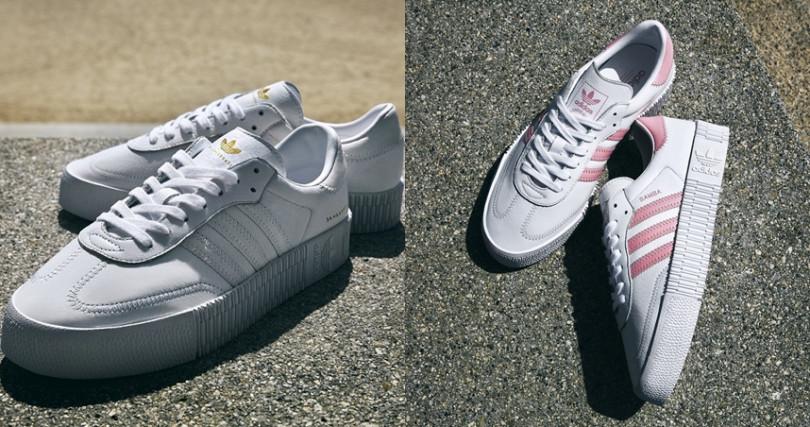 人氣鞋款Sambarose為系列中新鞋款,強勢演繹復古風範。(圖/adidas Originals提供)