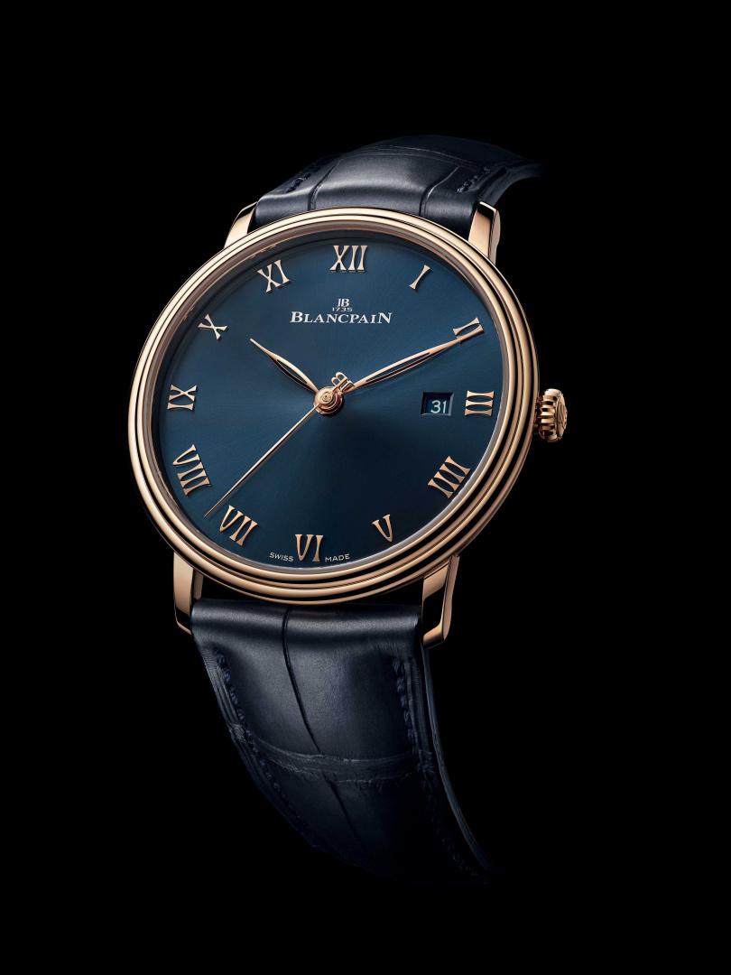 BLANCPAIN「Villeret系列Ultraplate」超薄腕錶,鱷魚皮錶帶款╱620,000元。(圖╱BLANCPAIN提供)