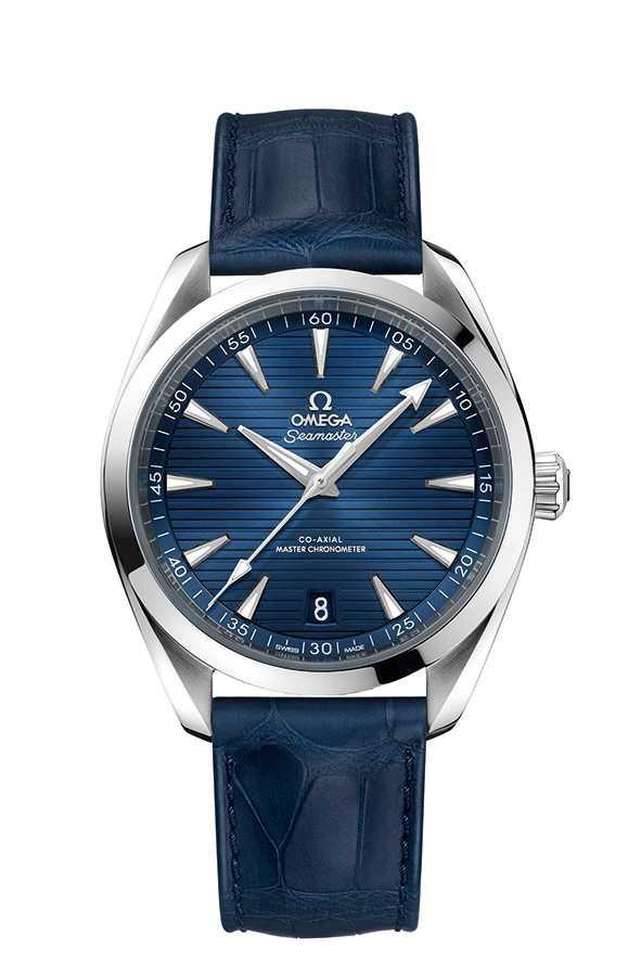OMEGA「Seamaster海馬系列Aqua Terra」同軸擒縱大師天文台腕錶,鱷魚皮錶帶款╱176,700元。(圖╱OMEGA提供)