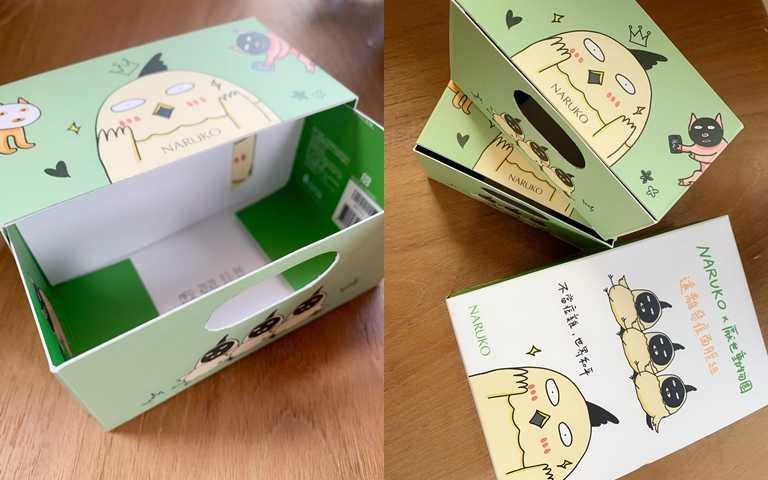 除了外盒及面膜袋上有卡哇依的厭世動物們,只要將紙盒反轉後簡單剪裁,就能變身收納小抽屜,既環保又實用。(圖/吳雅鈴攝影)