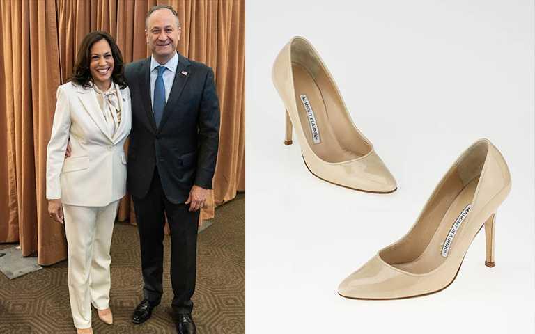 美國副總統當選人賀錦麗(Kamala Harris) 穿著Manolo Blahnik。(圖/kamalaharris IG,Manolo Blahnik提供)