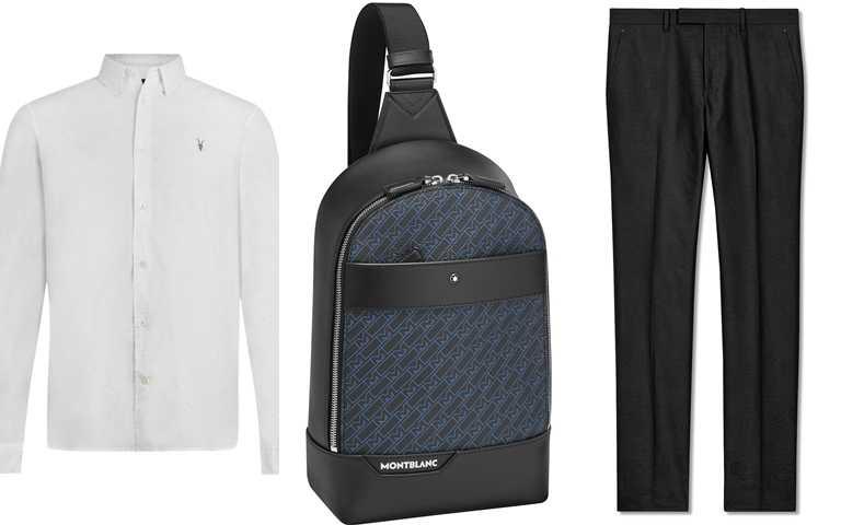 喜歡他的造型你可以這樣搭>>ALLSAINTS Balko白色長袖襯衫/4,400元、MONT BLANC M_Gram 4810系列單肩背包/27,800元、Berluti Scritto黑色棉質西裝褲/26,200元(圖/品牌提供)
