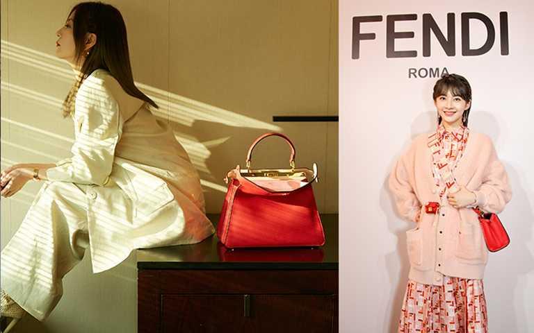 紅色則寓意新年時節的吉祥與喜慶,是春節系列的主題色,它與細膩的粉色調及傳統花卉元素相搭配。(圖/FENDI提供)
