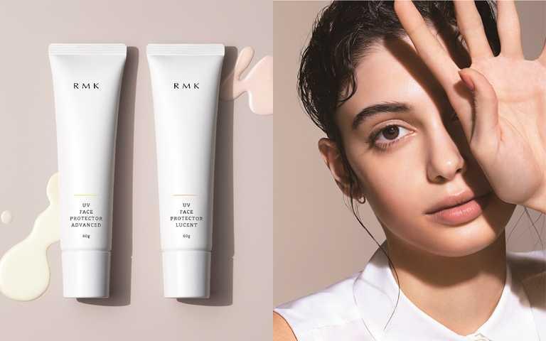 RMK UV防護乳(高效保濕型) 60g/1,300元、RMK UV防護乳(透光勻色型) 60g/1,300元  可在肌膚形成薄透不泛白的UV防護膜,展現仿若光滑、細緻的素肌般肌質。(圖/品牌提供)