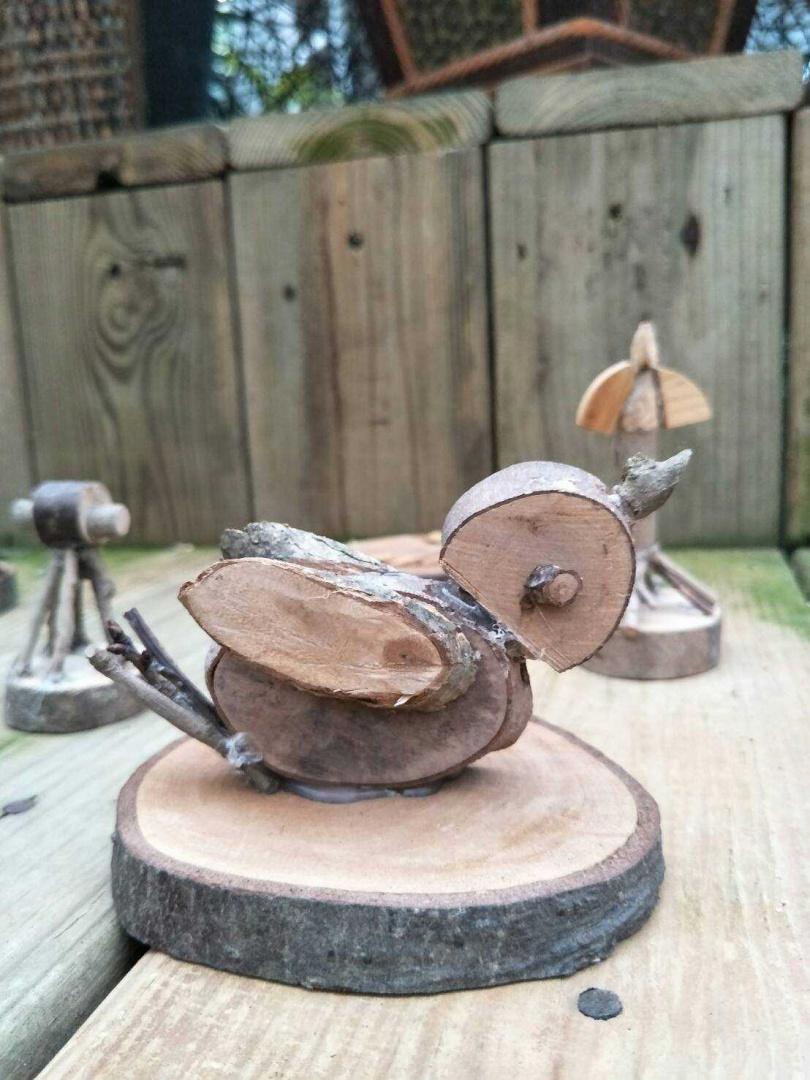 木製麻雀。(圖/台北市工務局公園處提供)