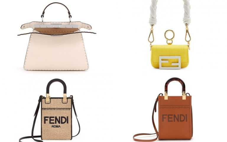 FENDI Vertigo系列 造型Peekaboo/148,000元、編織提把Nano Baguett/32,500元、編織造型 Mini Sunshine Shopper/49,000元、玳瑁提把 Mini Sunshine Shopper/52,000元(圖/品牌提供)