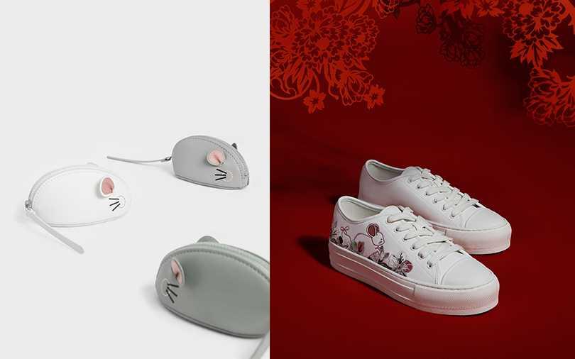刺繡休閒鞋/NT1,790元,老鼠圓筒斜背包/NT1,490,小老鼠零錢包/NT790(圖/CHARLES & KEITH提供)