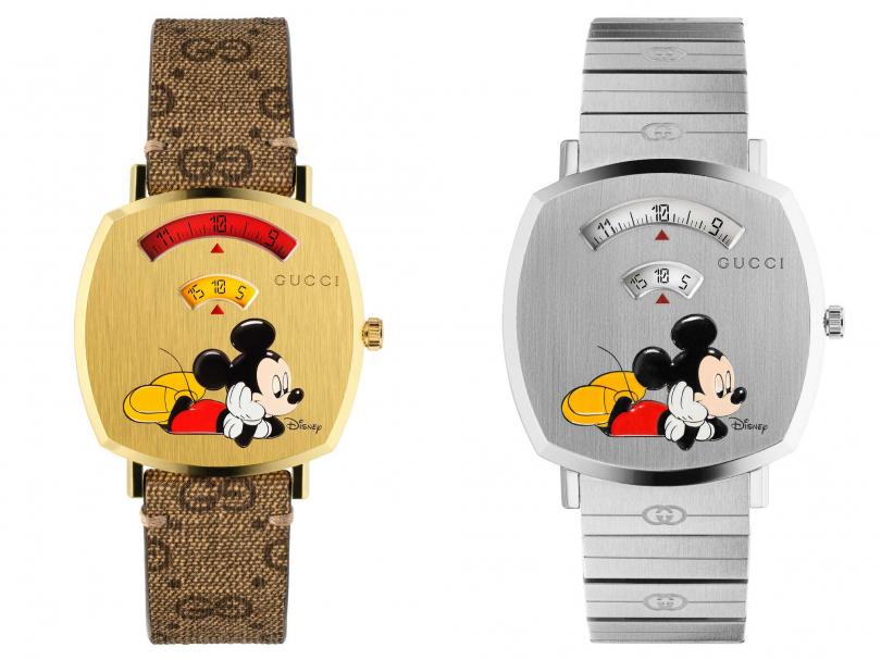 GUCCI「Grip」系列米奇腕錶,(左)帆布錶帶╱53,000元;(右)精鋼錶帶╱56,000元(圖片提供╱GUCCI)。