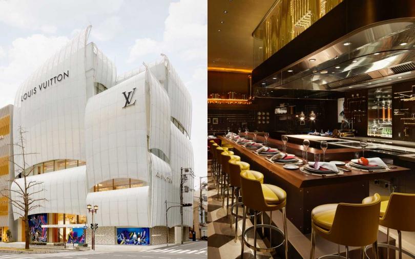以船帆造型打造的大阪御堂筋旗艦店外觀;隱身在店內的隱密餐廳Sugalabo V。(圖/品牌提供)