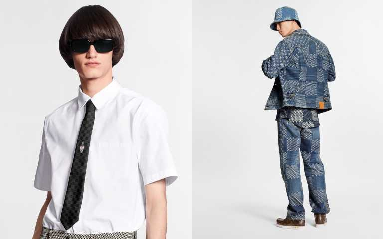 EMBROIDERED LV-SQUARED REGULAR SHORT-SLEEVED SHIRT 襯衫/29,500元、GIANT DAMIER WAVES MONOGRAM DENIM JACKET外套/91,000元(圖/品牌提供)