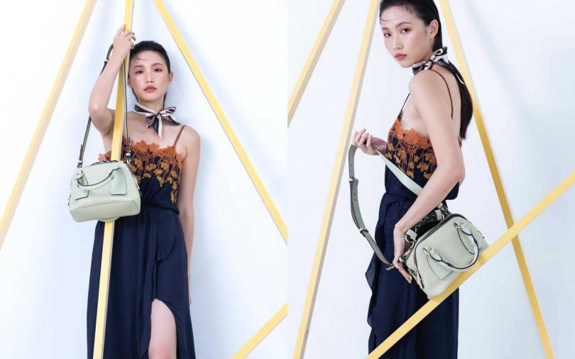 Chloé 蕾絲縫綴高衩肩帶洋裝/價格未定、小型Daria手袋/約54,200元、印花緞面領巾/價格未定(圖/莊立人攝)