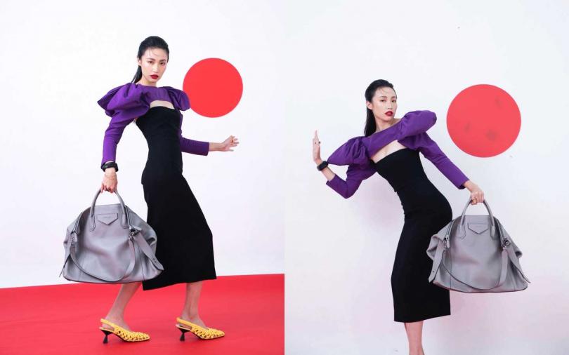 GIVENCHY 蝴蝶結肩袖兩截式洋裝/價格未定、大型Antigona Soft手袋/90,000元、嫩黃編織跟鞋/價格未定(圖/莊立人攝)