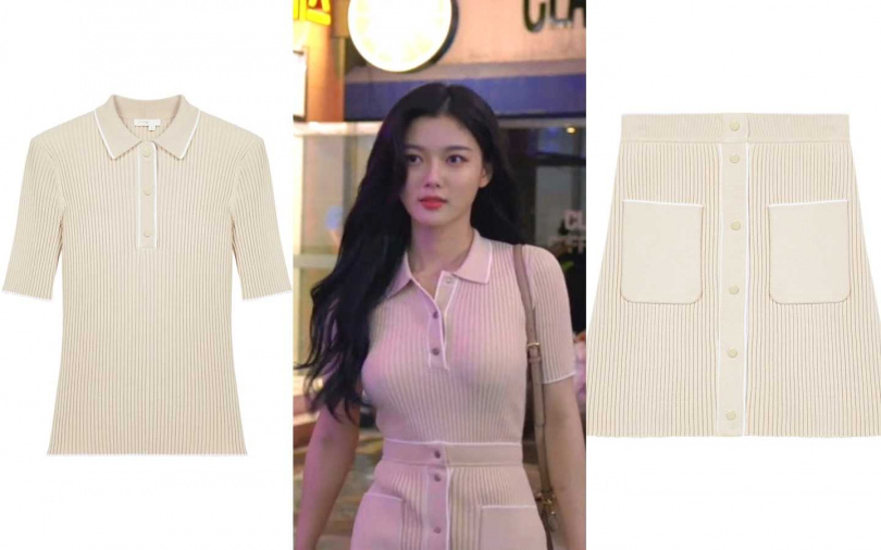 Maje針織短袖上衣/6,960元、Maje雙口袋針織排釦短裙/8,120元(圖/品牌提供、翻攝網路)