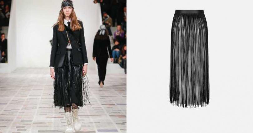 以皮革材質的自然光澤,讓流蘇擺動更加明顯。DIOR 皮革流蘇中長裙/155,000元(圖/品牌提供)