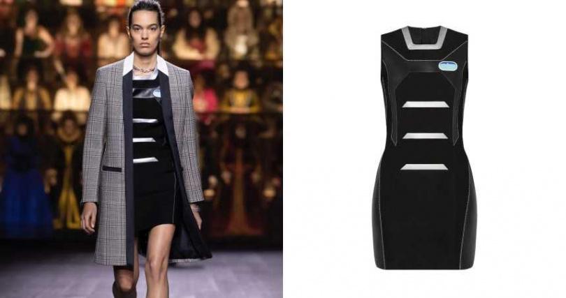 以未來感對比搭配當代感設計大衣,簡約卻又充滿造型。 LOUIS VUITTON 貼身皮革層次主打連身裙/159,000元(圖/品牌提供)
