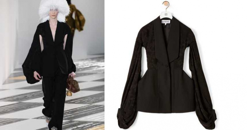 利用明顯的腰際線條,對比寬鬆袖型。LOEWE 提花球型袖外套/88,000元(圖/品牌提供)