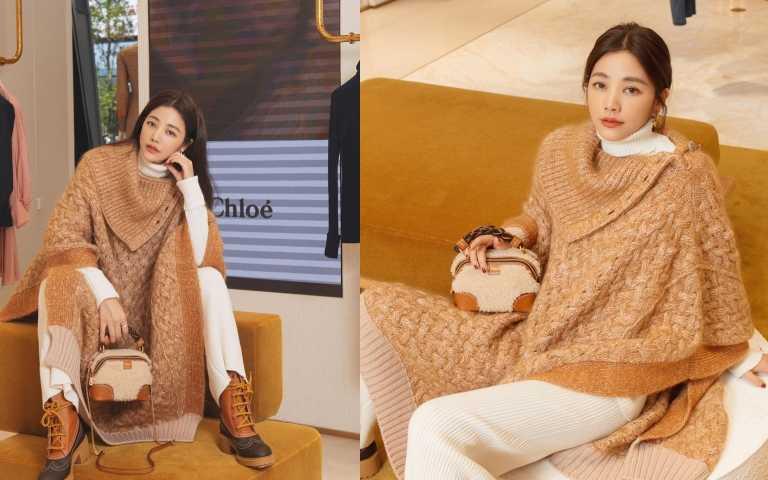 許路兒喜歡新款的Chloé Daria羊毛拼接迷你肩背手提用包(Mini Daria)/64,600元。(圖/許路兒IG、品牌提供)