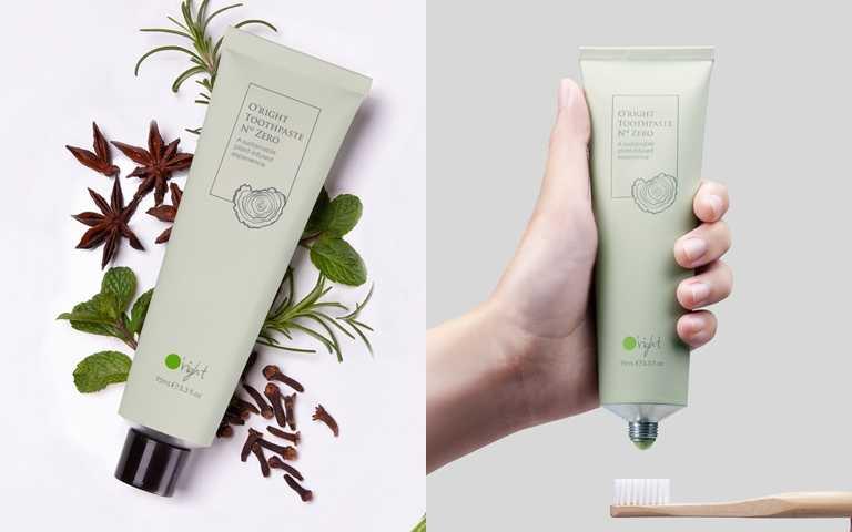 歐萊德的源木牙膏採用食品等級的植物成分,搭配永續樹木粉末,幫妳溫和去除牙齒上的染色汙垢。(圖/品牌提供)