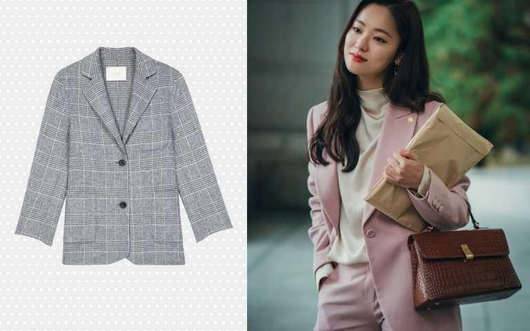 (圖4) Maje格紋雙釦西裝外套/16,230元(圖/品牌提供、翻攝自網路)