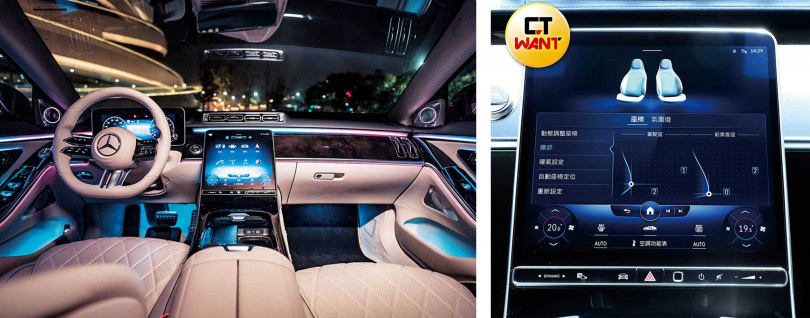 S450L車內大量運用核桃木、金屬、高級皮革等奢華材質;12.8吋的OLED中控螢幕(右圖),畫質之好更是前所未見。(圖/左:台灣賓士提供、右:王永泰攝)